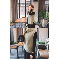 migunstyle - Turtle-Neck Slit-Side Knit Vest