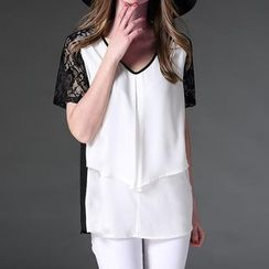 Mythmax - Short-Sleeve Lace-Panel Top