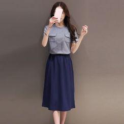 Emeline - Short-Sleeve Mock Two Piece Midi Dress