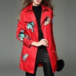 Queen Mulock - Embroidered Belted Trench Coat