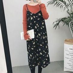 RASA - Floral Print Spaghetti-Strap Chiffon Dress