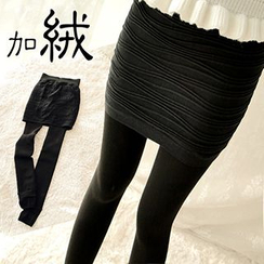 NANA Stockings - Fleece-lined Inset Skirt Leggings