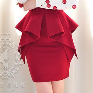 Dabuwawa - Ruffle Peplum Pencil Skirt