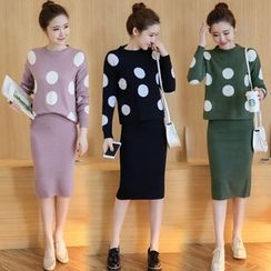 Crista - Set: Polka-Dot Sweater + Pencil Skirt