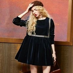 ELF SACK - Long-Sleeve Contrast-Trim Dress
