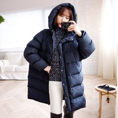 WITH IPUN - Hooded Thickened Padded Coat with Scarf