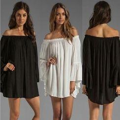 Saranghae - Long-Sleeve Off Shoulder Chiffon Dress