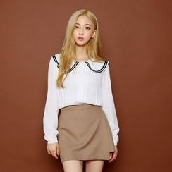 Envy Look - Sailor-Collar Long-Sleeve Blouse