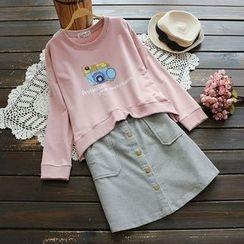 YOYO - 宽松印花套衫
