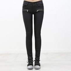DANI LOVE - Brushed-Fleece Lined Coated Skinny Pants
