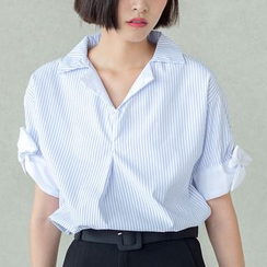 Sens Collection - Pinstriped Short-Sleeve Top