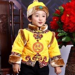 Snow Dragon - 童裝套裝: 中式外套 + 帽子 + 長褲