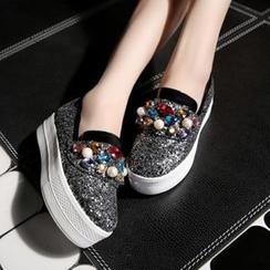 JY Shoes - Embellished Glitter Platform Slip Ons