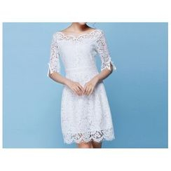 Strawberry Flower - Elbow-Sleeve Lace Dress