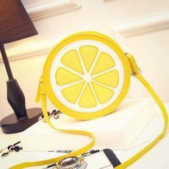 Diamante - Faux Leather Lemon Shoulder Bag