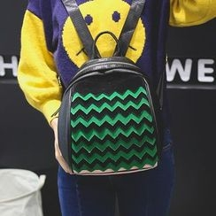Bam's - Faux-Leather Wave-Pattern Mini Backpack