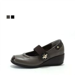MODELSIS - Genuine Leather Wedge-Heel Loafers
