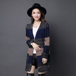 Romantica - Color-Block Long Cardigan