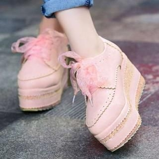 Pangmama - Lace-Up Platform Oxfords Shoes