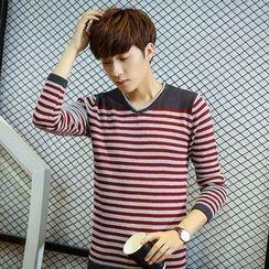 Bingham - Striped V-Neck Long-Sleeve T-Shirt