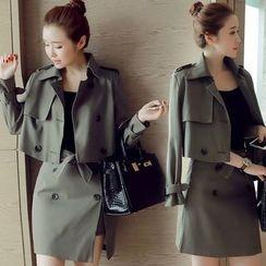 Mida - Set: Cropped Trench Jacket + Slit Skirt