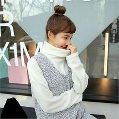 clicknme - Turtle-Neck Brushed-Fleece Top
