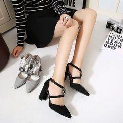 Mancienne - Rhinestone Pointy High Heel Sandals