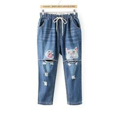 Aigan - Washed Distressed Printed Cropped Jeans