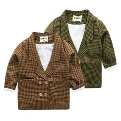 lalalove - Kids Double-Breasted Plaid Blazer