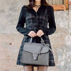 chuu - Sleeveless Wool Blend Plaid Mini Dress