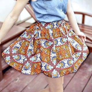 OrangeBear - Patterned A-Line Skirt