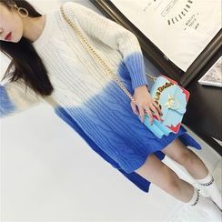 THE XIBI - Gradient Cable Knit Dip Back Chunky Sweater