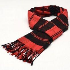 Romguest - Color-Block Stripe Fringed Silk Blend Scarf