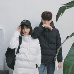Simpair - Couple Matching Half Placket Hooded Padded Jacket