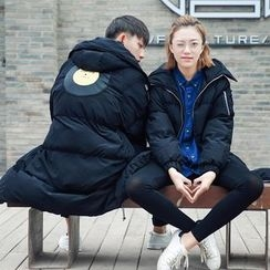 Simpair - Couple Matching Applique Hooded Padded Coat