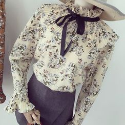 Honeydew - 碎花领结带雪纺衬衫