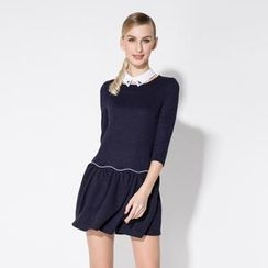 O.SA - 3/4-Sleeve Dress with Detachable Jeweled Collar