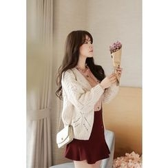 MyFiona - Open-Front Pointelle-Knit Cardigan