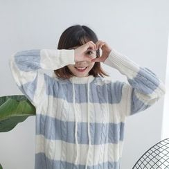 Windflower - Hooded Striped Cable-Knit Sweater