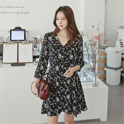 TOM & RABBIT - V-Neck Flower Pattern A-Line Shirtdress