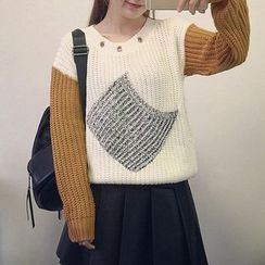 Fashion Street - Eyelet Detailed Color Panel Chunky Sweater