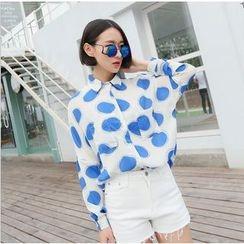 SUYISODA - Dot Print Chiffon Shirt