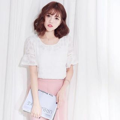 Tokyo Fashion - Lace Trim Short-Sleeve Top