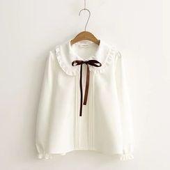 艾女 - 蝴蝶領結帶襯衫