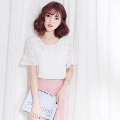 Tokyo Fashion - Lace Trim Short-Sleeve Top