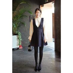 CHERRYKOKO - Wool Blend A-Line Jumper Dress