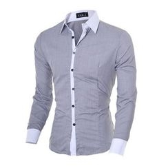 Hansel - Contrast Trim Long Sleeve Shirt