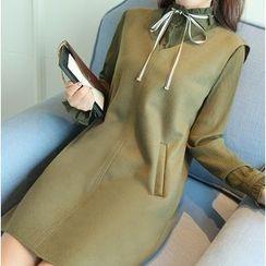 EFO - Set: Long-Sleeve Frilled-Trim Blouse + Sleeveless Dress