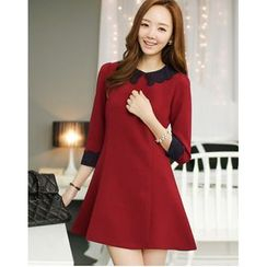 Yinaike - Perforated Collar 3/4 Sleeve A-Line Dress