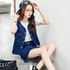 Porta - Set: Denim Vest + Asymmetric-Hem Denim Skirt